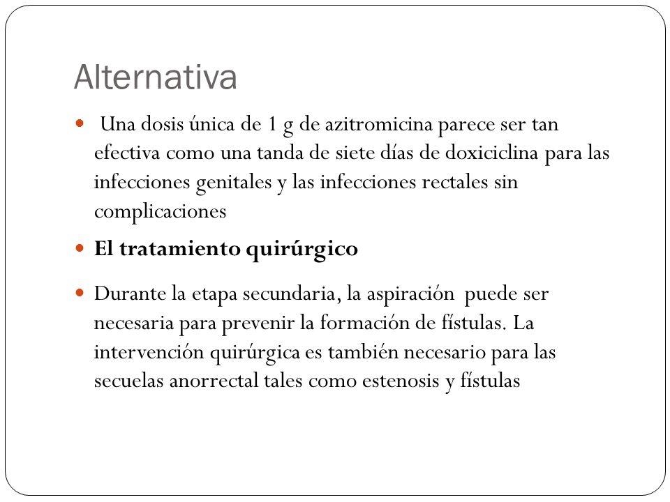 Alternativa Una dosis única de 1 g de azitromicina parece ser tan efectiva como una tanda de siete días de doxiciclina para las infecciones genitales