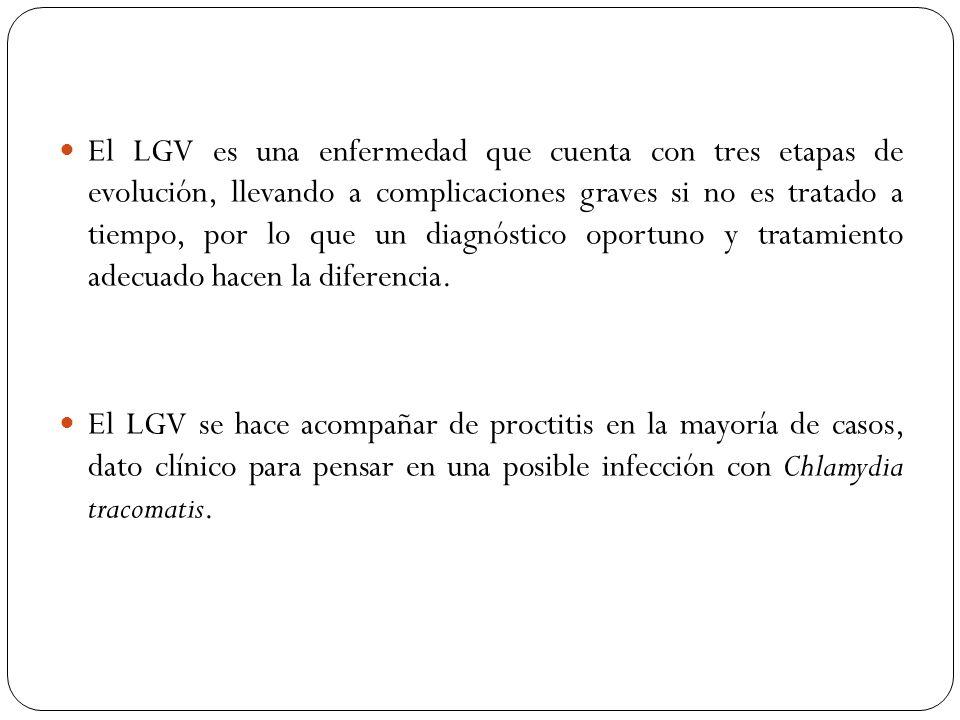 El LGV es una enfermedad que cuenta con tres etapas de evolución, llevando a complicaciones graves si no es tratado a tiempo, por lo que un diagnóstic