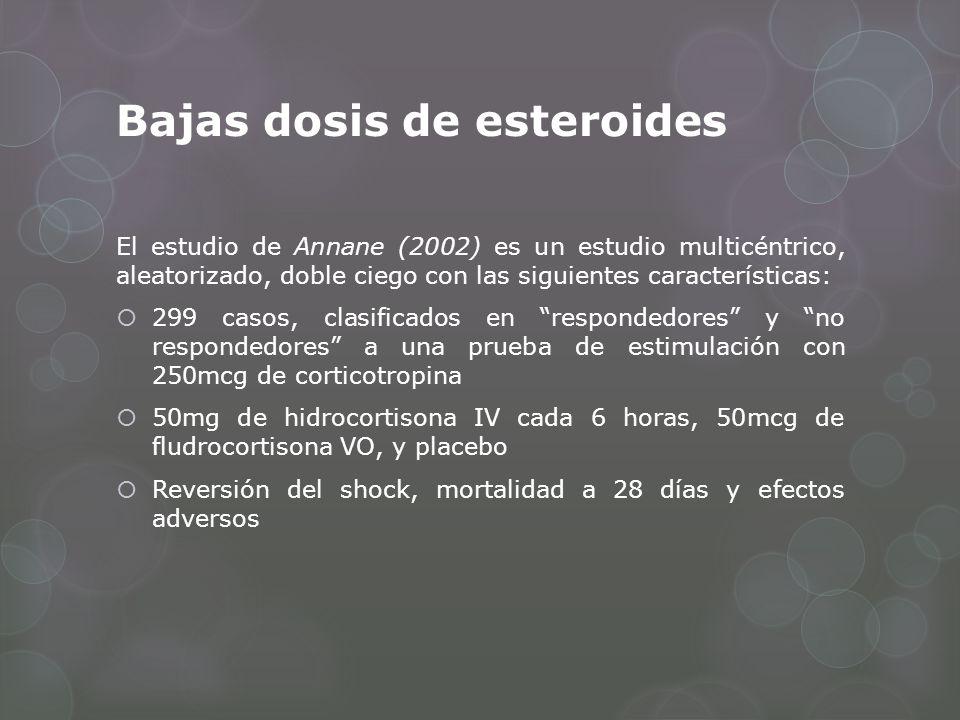 Bajas dosis de esteroides El estudio de Annane (2002) es un estudio multicéntrico, aleatorizado, doble ciego con las siguientes características: 299 c