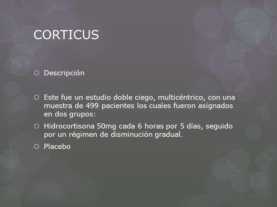 CORTICUS Descripción Este fue un estudio doble ciego, multicéntrico, con una muestra de 499 pacientes los cuales fueron asignados en dos grupos: Hidro