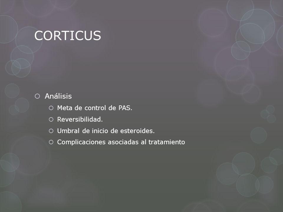 CORTICUS Análisis Meta de control de PAS. Reversibilidad. Umbral de inicio de esteroides. Complicaciones asociadas al tratamiento