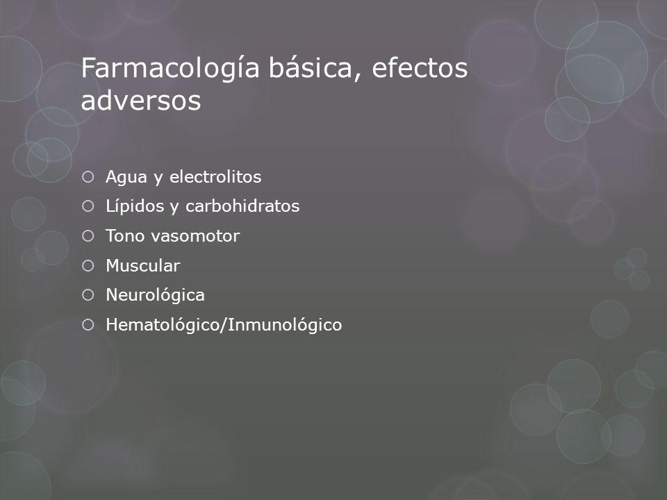 Farmacología básica, efectos adversos Agua y electrolitos Lípidos y carbohidratos Tono vasomotor Muscular Neurológica Hematológico/Inmunológico