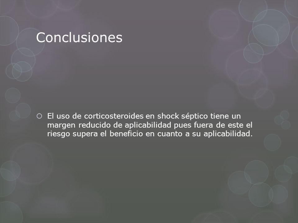 Conclusiones El uso de corticosteroides en shock séptico tiene un margen reducido de aplicabilidad pues fuera de este el riesgo supera el beneficio en cuanto a su aplicabilidad.