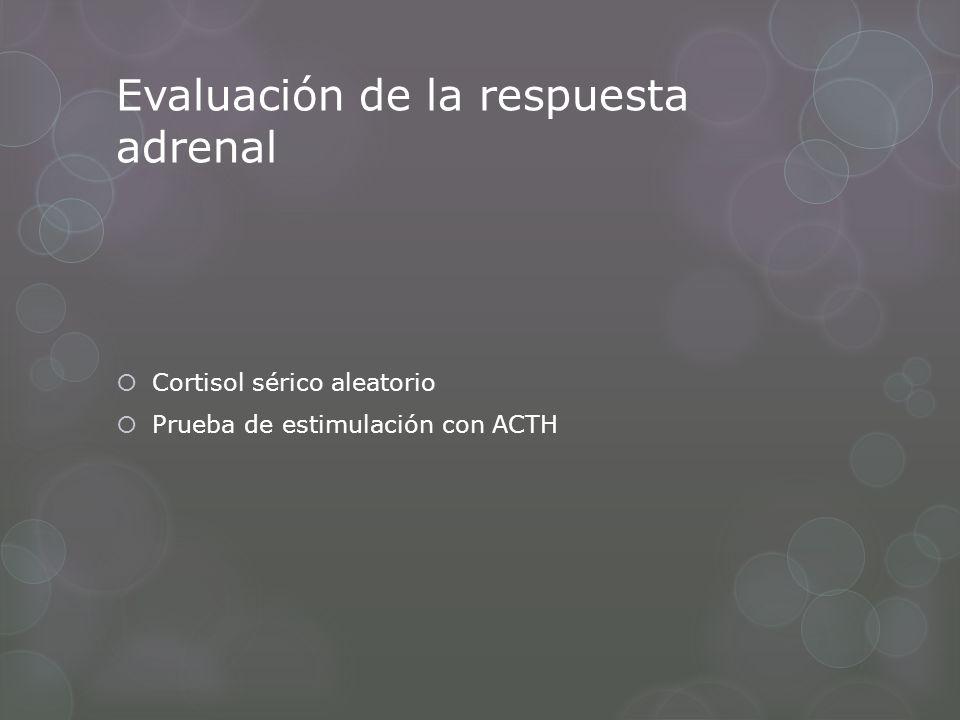 Evaluación de la respuesta adrenal Cortisol sérico aleatorio Prueba de estimulación con ACTH