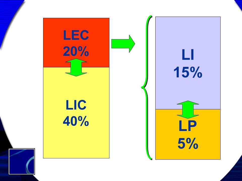 LEC 20% LIC 40% LI 15% LP 5%
