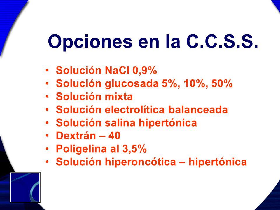 Opciones en la C.C.S.S. Solución NaCl 0,9% Solución glucosada 5%, 10%, 50% Solución mixta Solución electrolítica balanceada Solución salina hipertónic