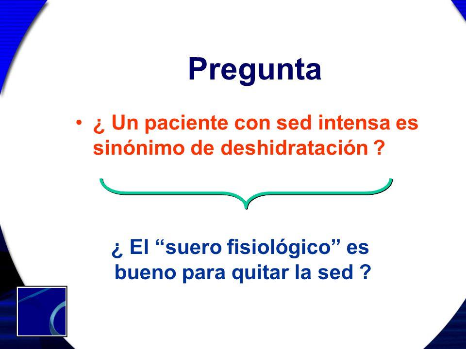 Pregunta ¿ Un paciente con sed intensa es sinónimo de deshidratación ? ¿ El suero fisiológico es bueno para quitar la sed ?