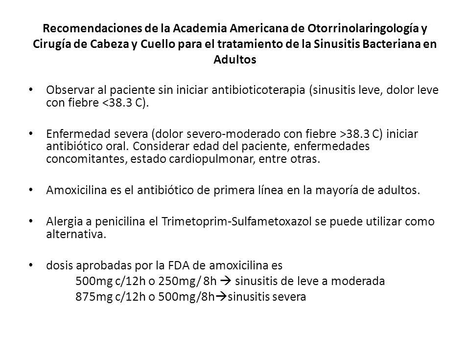 Recomendaciones de la Academia Americana de Otorrinolaringología y Cirugía de Cabeza y Cuello para el tratamiento de la Sinusitis Bacteriana en Adultos Observar al paciente sin iniciar antibioticoterapia (sinusitis leve, dolor leve con fiebre <38.3 C).