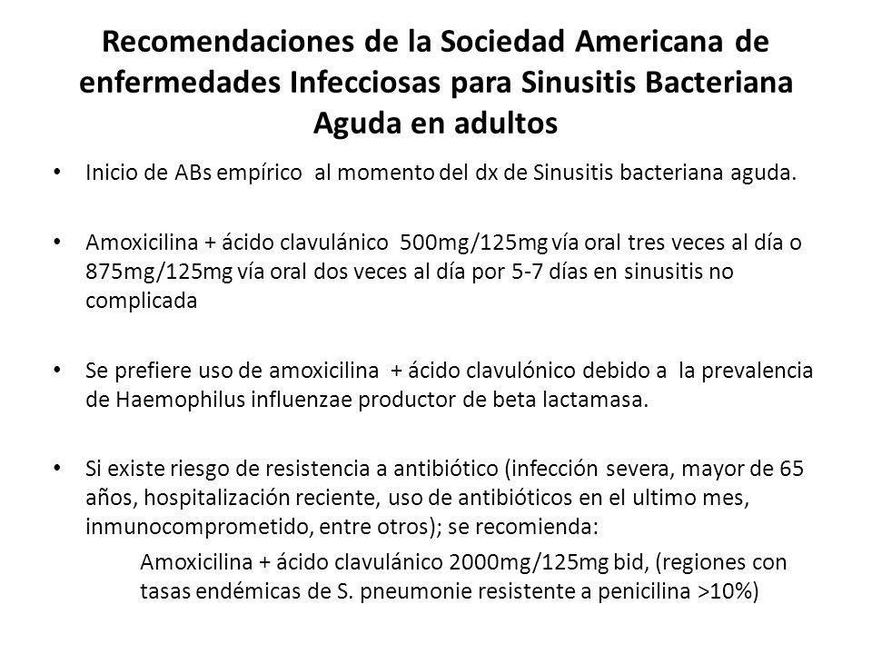 Recomendaciones de la Sociedad Americana de enfermedades Infecciosas para Sinusitis Bacteriana Aguda en adultos Inicio de ABs empírico al momento del dx de Sinusitis bacteriana aguda.
