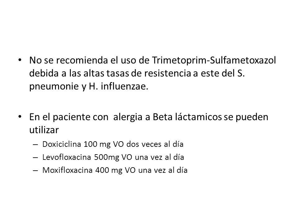 No se recomienda el uso de Trimetoprim-Sulfametoxazol debida a las altas tasas de resistencia a este del S.