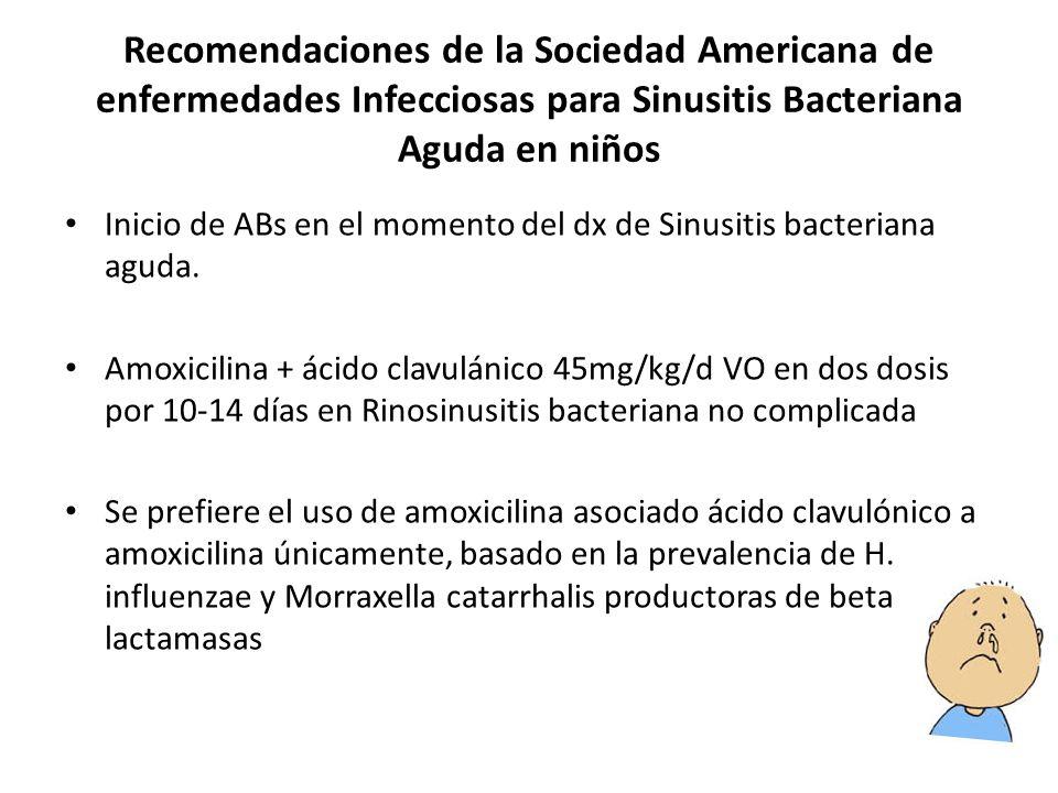 Recomendaciones de la Sociedad Americana de enfermedades Infecciosas para Sinusitis Bacteriana Aguda en niños Inicio de ABs en el momento del dx de Sinusitis bacteriana aguda.
