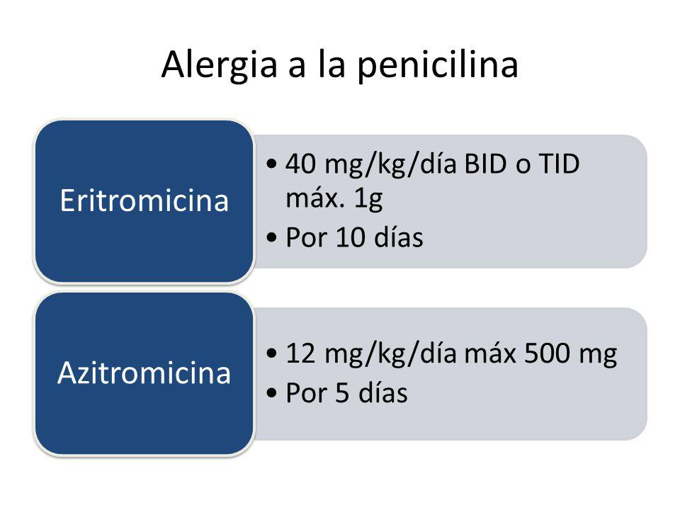 Alergia a la penicilina 40 mg/kg/día BID o TID máx.