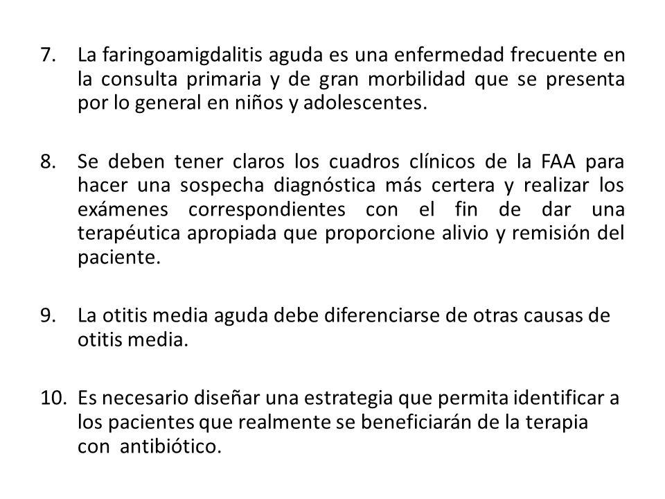 7.La faringoamigdalitis aguda es una enfermedad frecuente en la consulta primaria y de gran morbilidad que se presenta por lo general en niños y adolescentes.