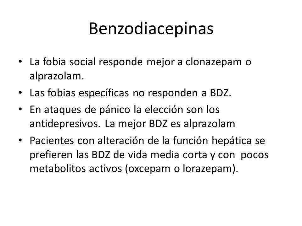 Benzodiacepinas La fobia social responde mejor a clonazepam o alprazolam. Las fobias específicas no responden a BDZ. En ataques de pánico la elección