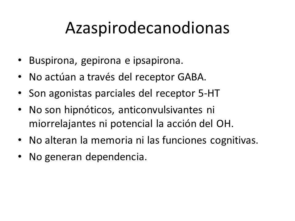 Azaspirodecanodionas Buspirona, gepirona e ipsapirona. No actúan a través del receptor GABA. Son agonistas parciales del receptor 5-HT No son hipnótic