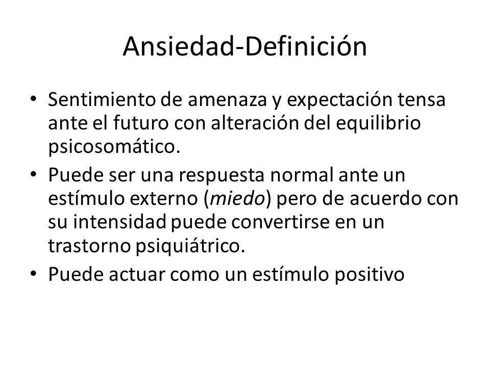 Ansiedad-Definición Sentimiento de amenaza y expectación tensa ante el futuro con alteración del equilibrio psicosomático. Puede ser una respuesta nor