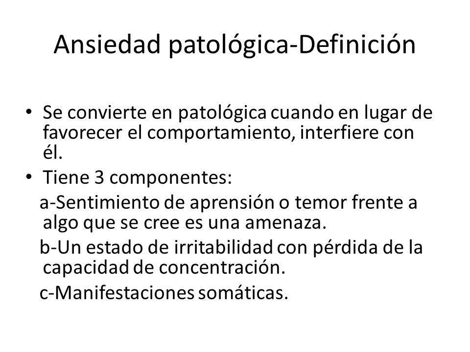Ansiedad patológica-Definición Se convierte en patológica cuando en lugar de favorecer el comportamiento, interfiere con él. Tiene 3 componentes: a-Se