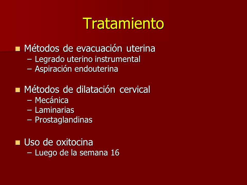 Tratamiento Métodos de evacuación uterina Métodos de evacuación uterina –Legrado uterino instrumental –Aspiración endouterina Métodos de dilatación ce