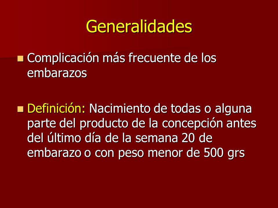 Generalidades Complicación más frecuente de los embarazos Complicación más frecuente de los embarazos Definición: Nacimiento de todas o alguna parte d