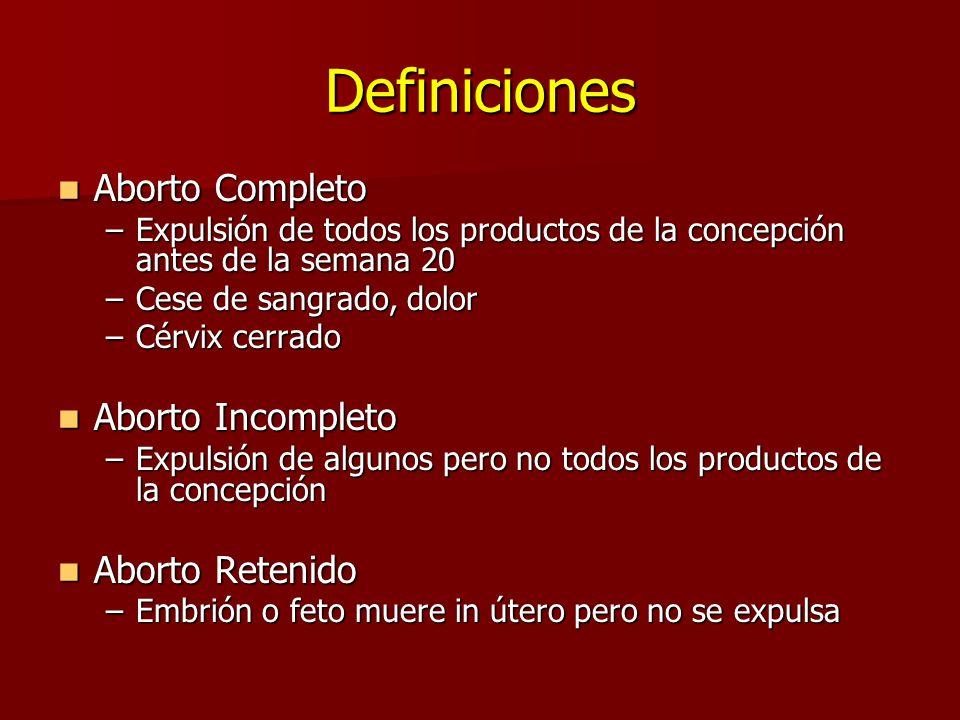 Definiciones Aborto Completo Aborto Completo –Expulsión de todos los productos de la concepción antes de la semana 20 –Cese de sangrado, dolor –Cérvix