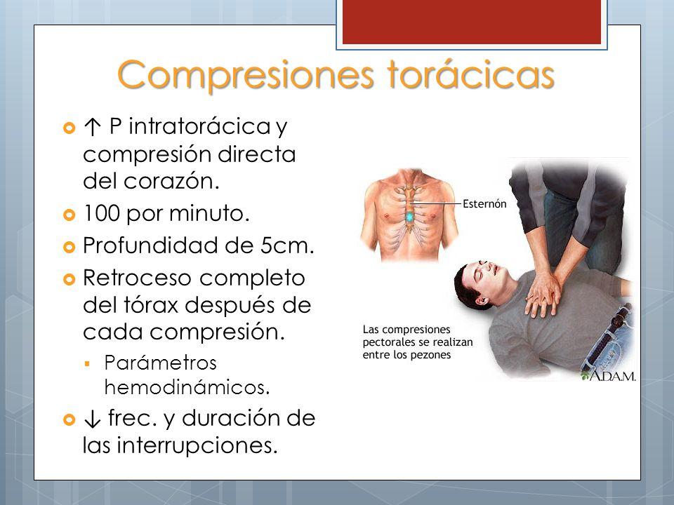 Compresiones torácicas P intratorácica y compresión directa del corazón. 100 por minuto. Profundidad de 5cm. Retroceso completo del tórax después de c