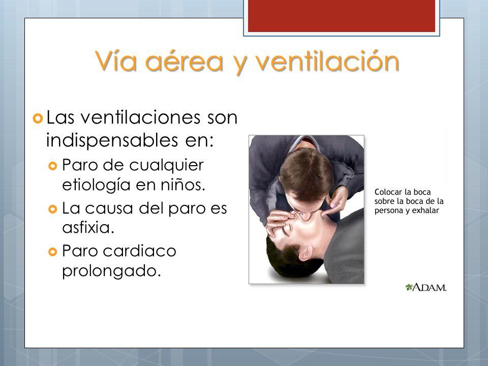Vía aérea y ventilación Las ventilaciones son indispensables en: Paro de cualquier etiología en niños. La causa del paro es asfixia. Paro cardiaco pro