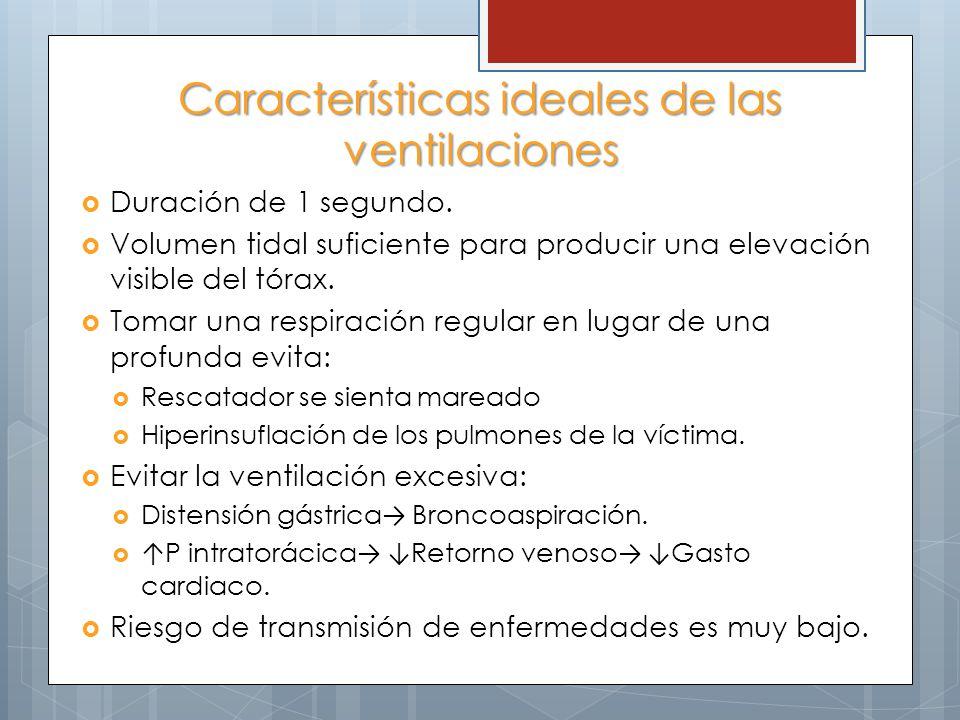 Características ideales de las ventilaciones Duración de 1 segundo. Volumen tidal suficiente para producir una elevación visible del tórax. Tomar una