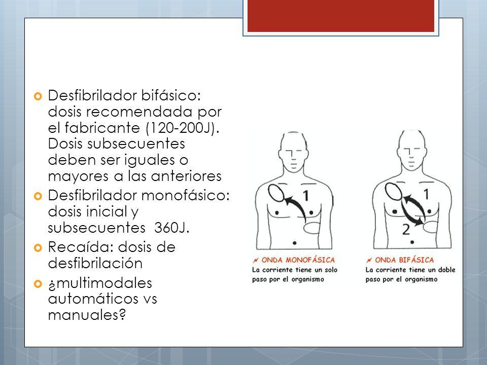 Desfibrilador bifásico: dosis recomendada por el fabricante (120-200J).