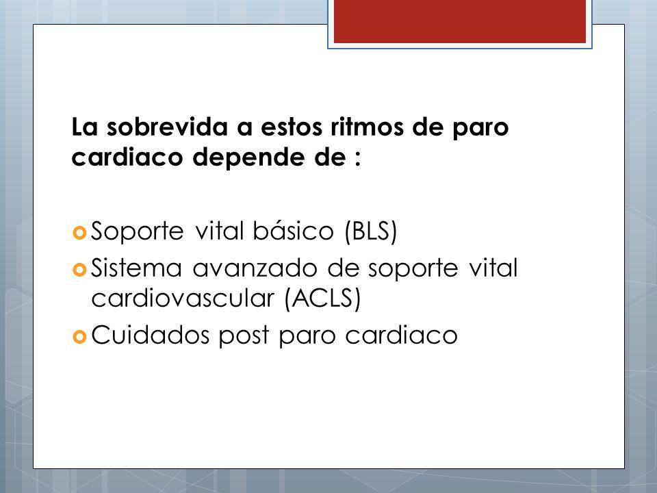 La sobrevida a estos ritmos de paro cardiaco depende de : Soporte vital básico (BLS) Sistema avanzado de soporte vital cardiovascular (ACLS) Cuidados