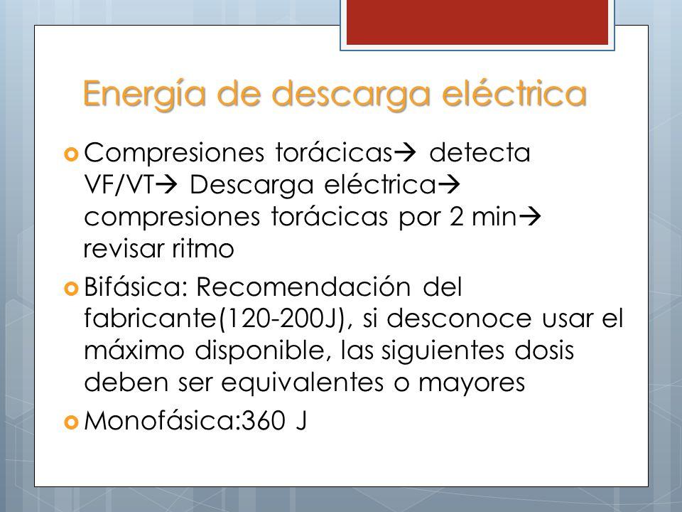 Energía de descarga eléctrica Compresiones torácicas detecta VF/VT Descarga eléctrica compresiones torácicas por 2 min revisar ritmo Bifásica: Recomendación del fabricante(120-200J), si desconoce usar el máximo disponible, las siguientes dosis deben ser equivalentes o mayores Monofásica:360 J