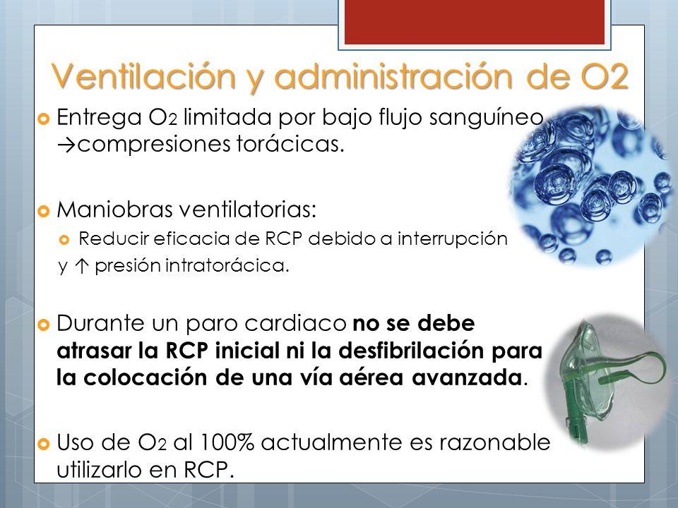 Ventilación y administración de O2 Entrega O 2 limitada por bajo flujo sanguíneo compresiones torácicas. Maniobras ventilatorias: Reducir eficacia de