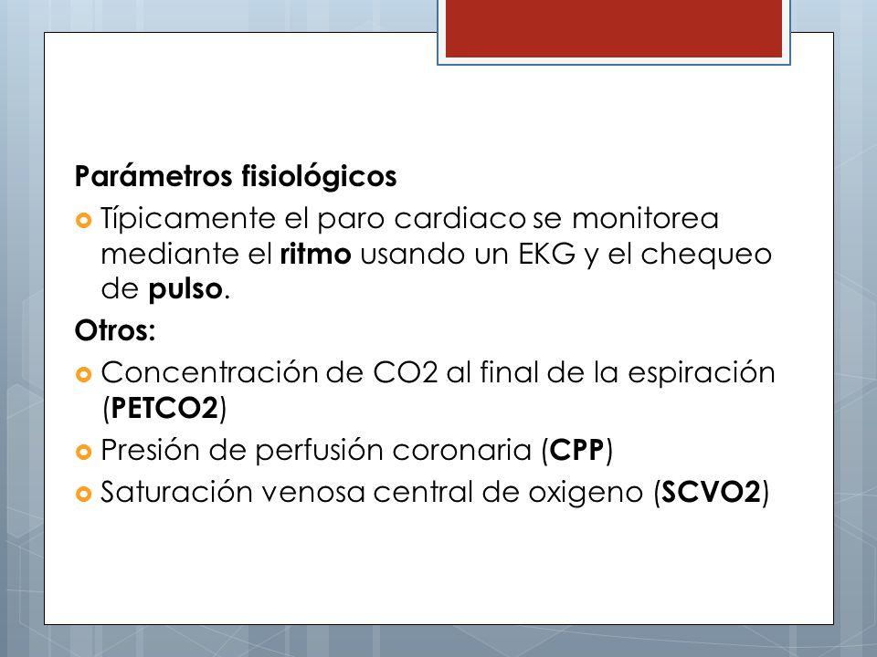 Parámetros fisiológicos Típicamente el paro cardiaco se monitorea mediante el ritmo usando un EKG y el chequeo de pulso. Otros: Concentración de CO2 a