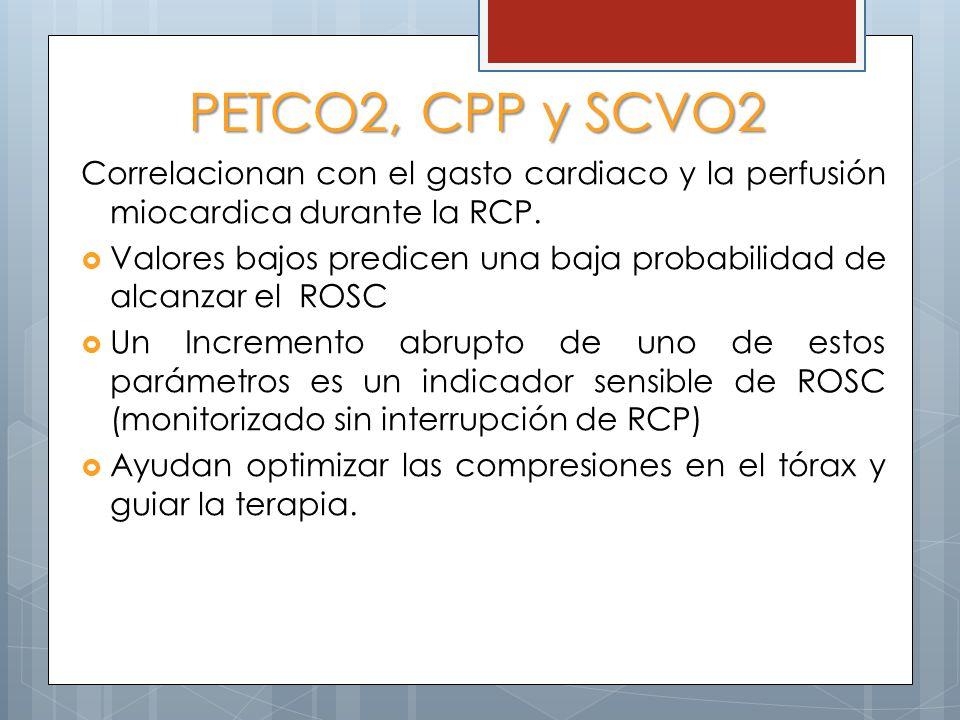 PETCO2, CPP y SCVO2 Correlacionan con el gasto cardiaco y la perfusión miocardica durante la RCP. Valores bajos predicen una baja probabilidad de alca