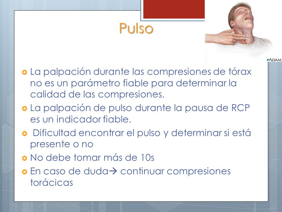 Pulso La palpación durante las compresiones de tórax no es un parámetro fiable para determinar la calidad de las compresiones. La palpación de pulso d