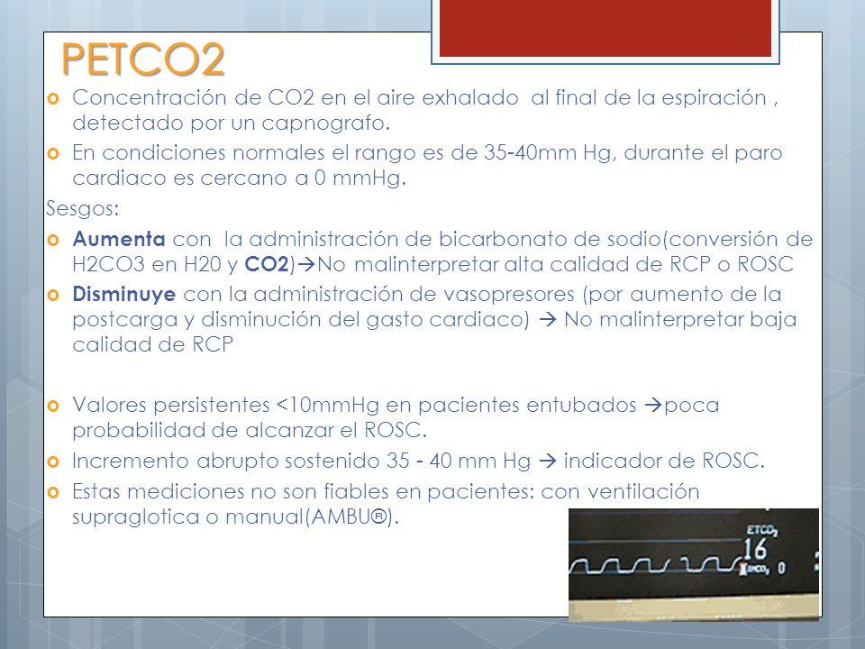 PETCO2 Concentración de CO2 en el aire exhalado al final de la espiración, detectado por un capnografo. En condiciones normales el rango es de 35-40mm