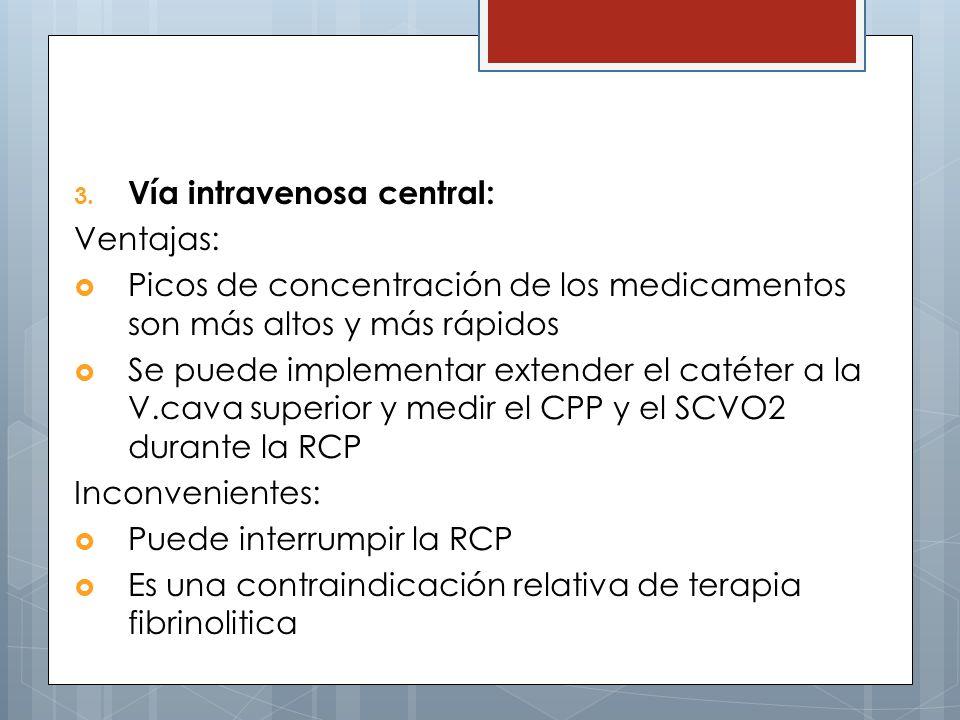 3. Vía intravenosa central: Ventajas: Picos de concentración de los medicamentos son más altos y más rápidos Se puede implementar extender el catéter