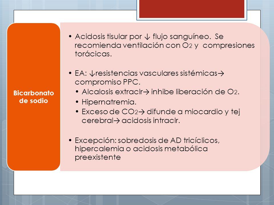 Acidosis tisular por flujo sanguíneo. Se recomienda ventilación con O 2 y compresiones torácicas. EA: resistencias vasculares sistémicas compromiso PP