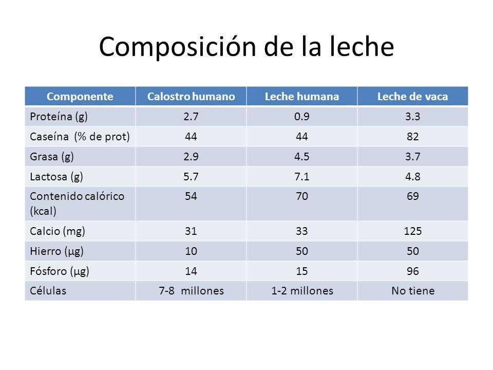 Composición de la leche ComponenteCalostro humanoLeche humanaLeche de vaca Proteína (g)2.70.93.3 Caseína (% de prot)44 82 Grasa (g)2.94.53.7 Lactosa (g)5.77.14.8 Contenido calórico (kcal) 547069 Calcio (mg)3133125 Hierro (μg)1050 Fósforo (μg)141596 Células7-8 millones1-2 millonesNo tiene