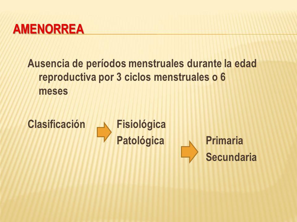 AMENORREA Ausencia de períodos menstruales durante la edad reproductiva por 3 ciclos menstruales o 6 meses ClasificaciónFisiológica PatológicaPrimaria