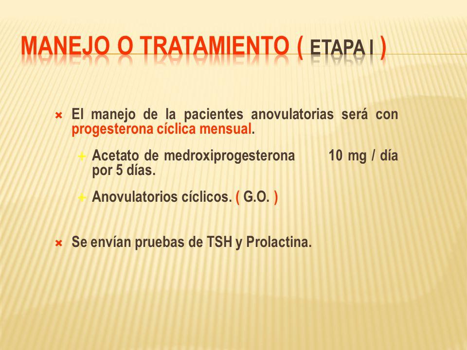 El manejo de la pacientes anovulatorias será con progesterona cíclica mensual. Acetato de medroxiprogesterona 10 mg / día por 5 días. Anovulatorios cí