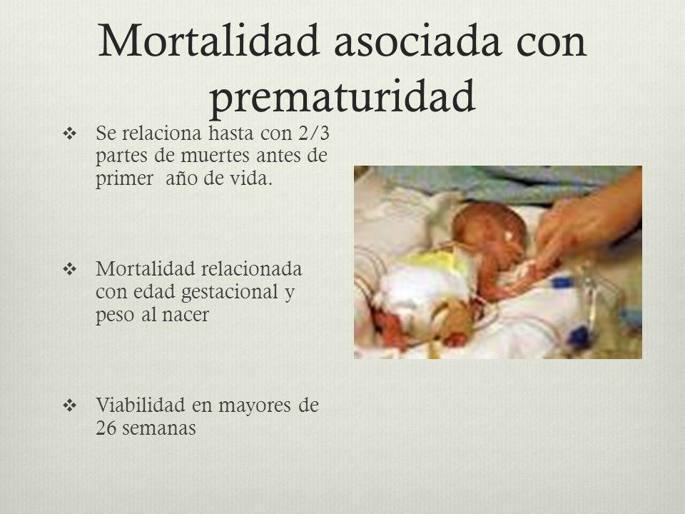 Mortalidad asociada con prematuridad Se relaciona hasta con 2/3 partes de muertes antes de primer año de vida. Mortalidad relacionada con edad gestaci