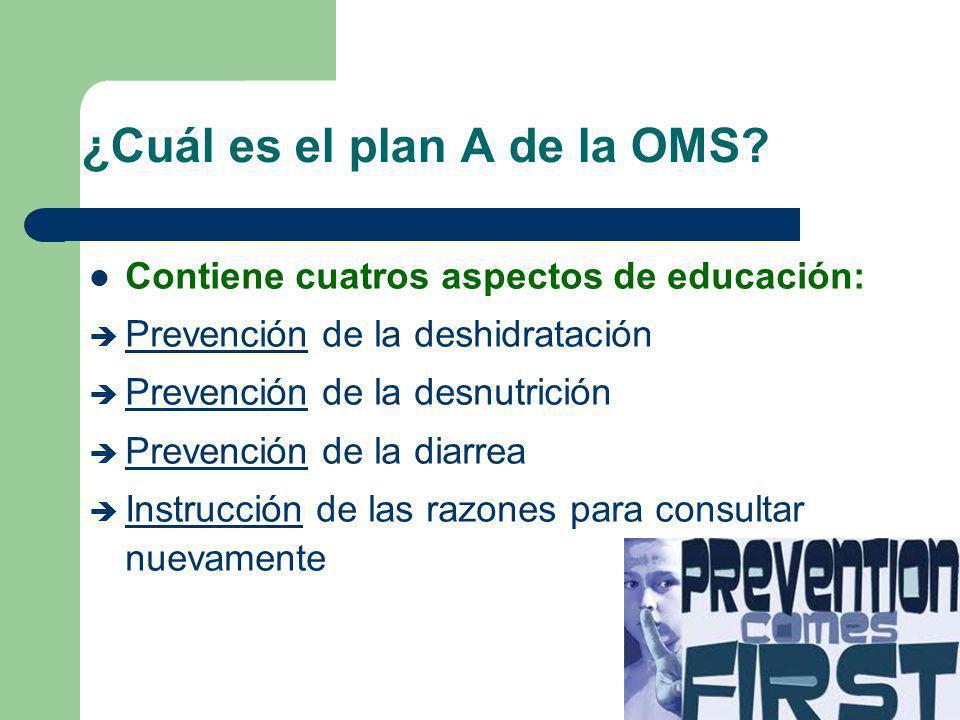 ¿Cuál es el plan A de la OMS? Contiene cuatros aspectos de educación: è Prevención de la deshidratación è Prevención de la desnutrición è Prevención d