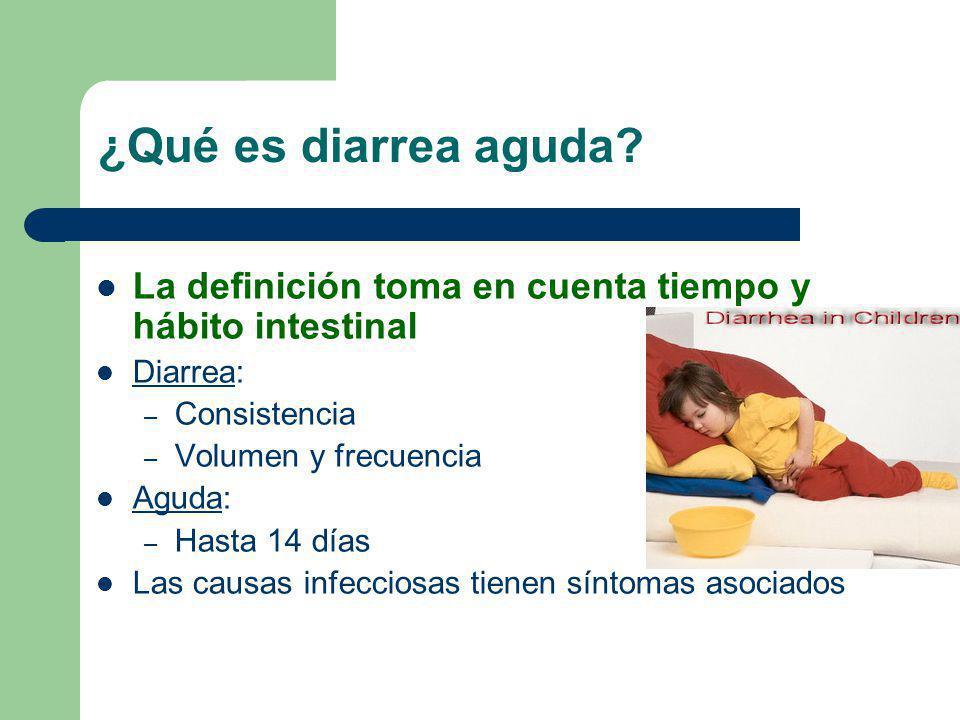 ¿Qué es diarrea aguda? La definición toma en cuenta tiempo y hábito intestinal Diarrea: – Consistencia – Volumen y frecuencia Aguda: – Hasta 14 días L