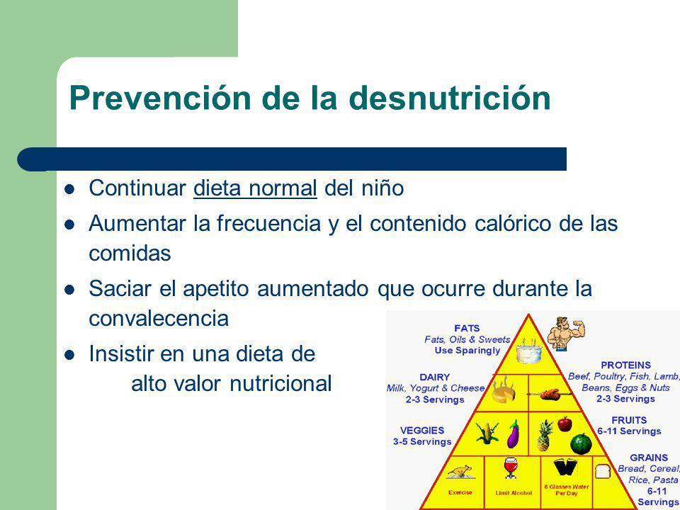 Prevención de la desnutrición Continuar dieta normal del niño Aumentar la frecuencia y el contenido calórico de las comidas Saciar el apetito aumentad