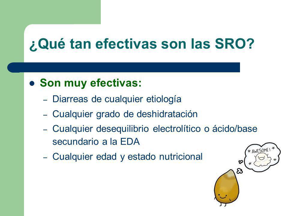 ¿Qué tan efectivas son las SRO? Son muy efectivas: – Diarreas de cualquier etiología – Cualquier grado de deshidratación – Cualquier desequilibrio ele