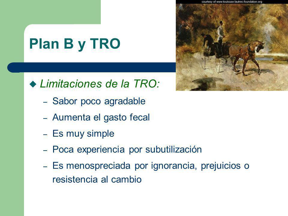 Plan B y TRO u Limitaciones de la TRO: – Sabor poco agradable – Aumenta el gasto fecal – Es muy simple – Poca experiencia por subutilización – Es meno