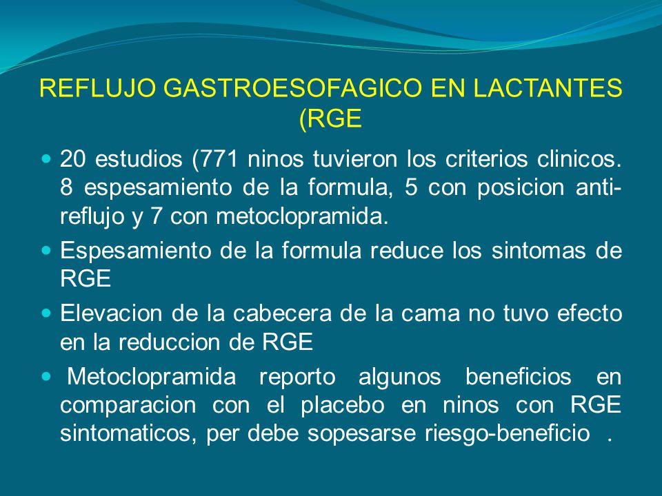 REFLUJO GASTROESOFAGICO EN LACTANTES (RGE 20 estudios (771 ninos tuvieron los criterios clinicos. 8 espesamiento de la formula, 5 con posicion anti- r