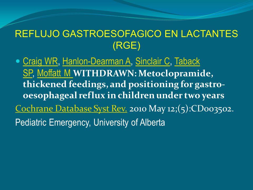 REFLUJO GASTROESOFAGICO EN LACTANTES (RGE) Craig WR, Hanlon-Dearman A, Sinclair C, Taback SP, Moffatt M WITHDRAWN: Metoclopramide, thickened feedings,