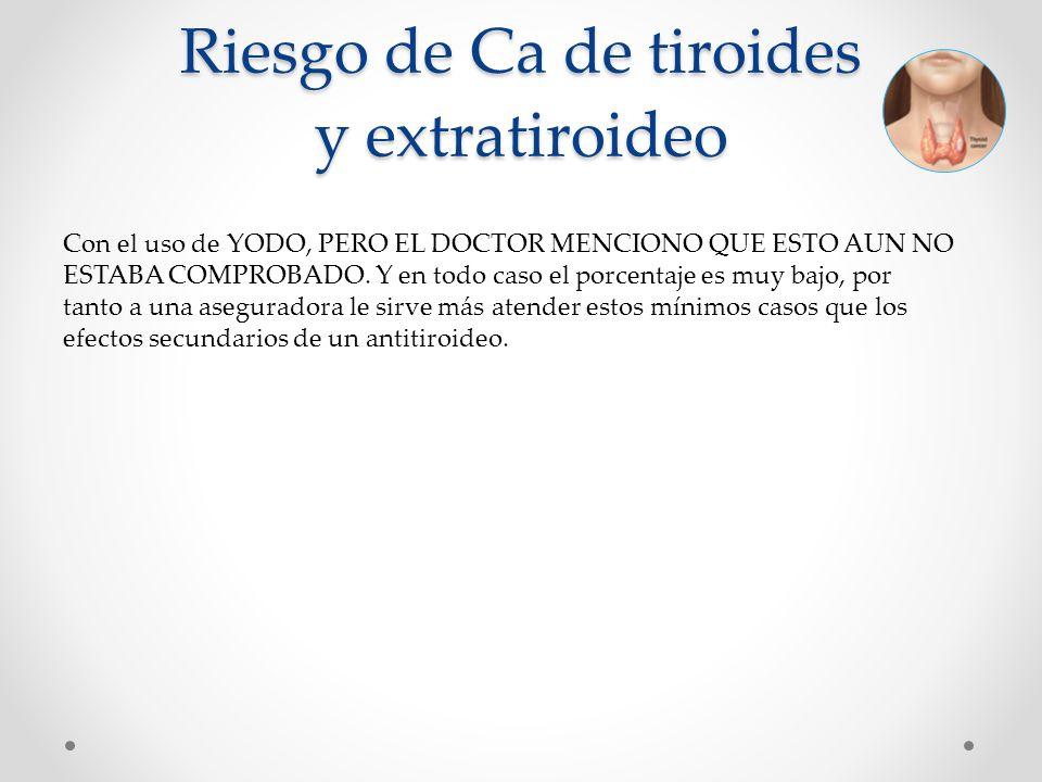 Riesgo de Ca de tiroides y extratiroideo Con el uso de YODO, PERO EL DOCTOR MENCIONO QUE ESTO AUN NO ESTABA COMPROBADO. Y en todo caso el porcentaje e