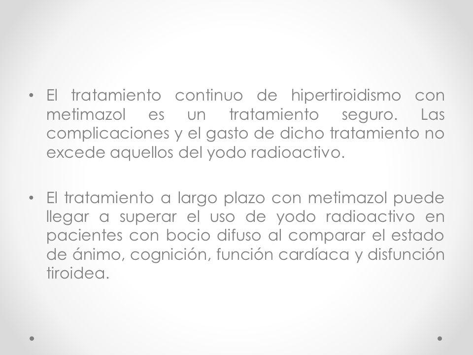 El tratamiento continuo de hipertiroidismo con metimazol es un tratamiento seguro. Las complicaciones y el gasto de dicho tratamiento no excede aquell